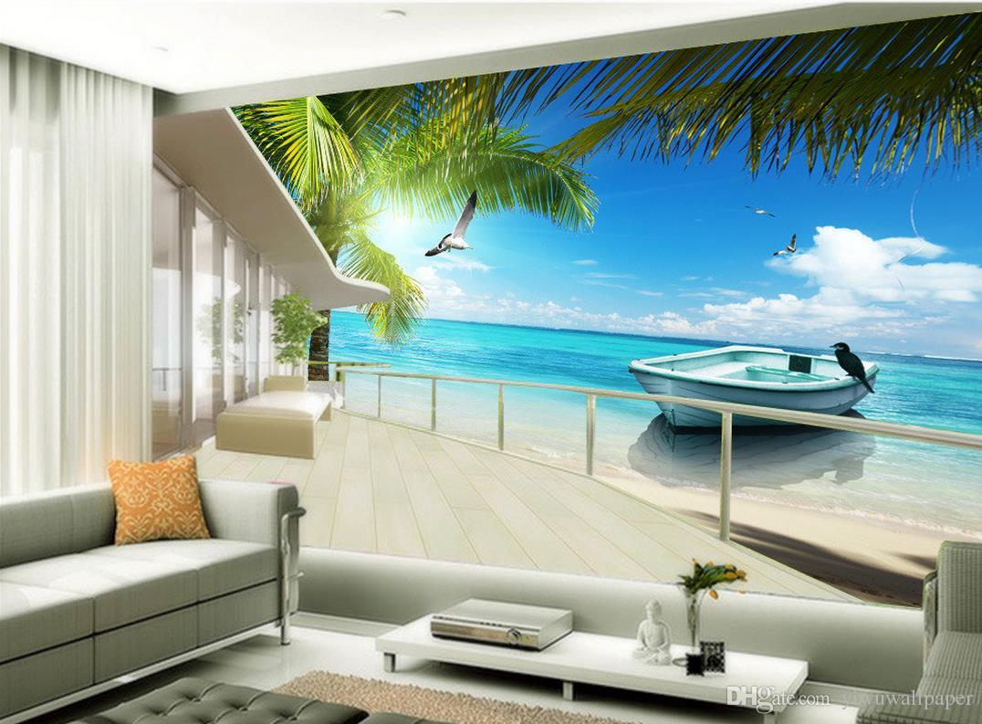 Maldives sea beach coconut tree view mural 3d wallpaper 3d for Beach mural wallpaper