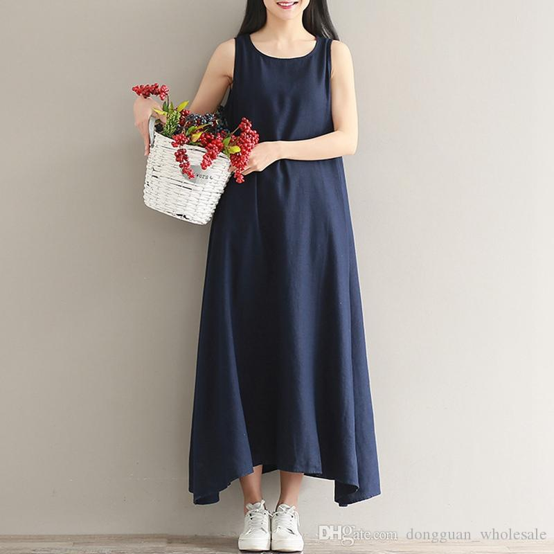 6079d97d58e Summer Beach Cotton Linen Dress Blue Pink Casual Dress Women Sleeveless A Line  Dresses O Neck Plus Size Party Tank Dress Summer Dress Floral White And  Blue ...