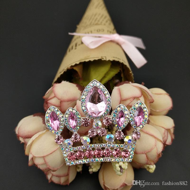 / 50mm corona spilla spilla ciondolo tono argento chiaro e rosa strass crystal costume decorazione gioielli spille da sposa