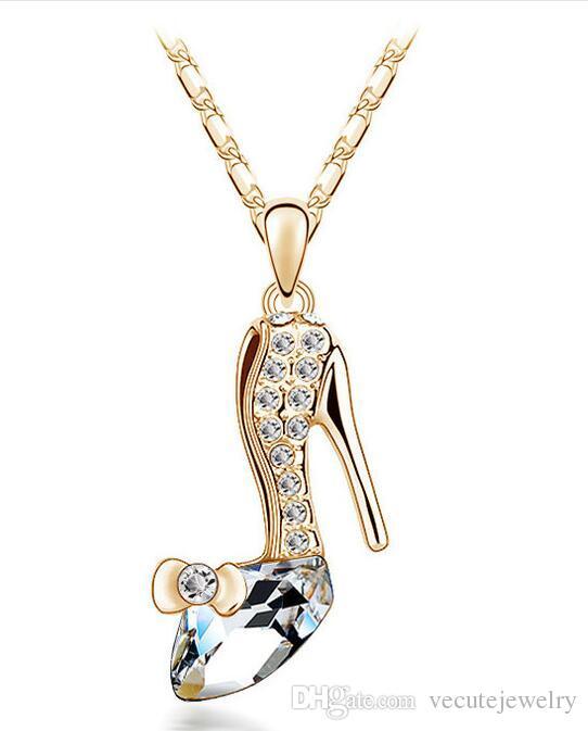 18 كيلو الذهب والفضة مطلي عالية الكعب الأحذية النمساوية كريستال قلادة للنساء الأزياء المعلقة الزفاف والمجوهرات بالجملة السعر