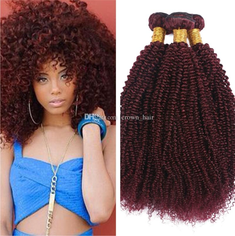 Wine Red 99j Afro Curly Kinky Curly Human Hair Extensions Hair Pure