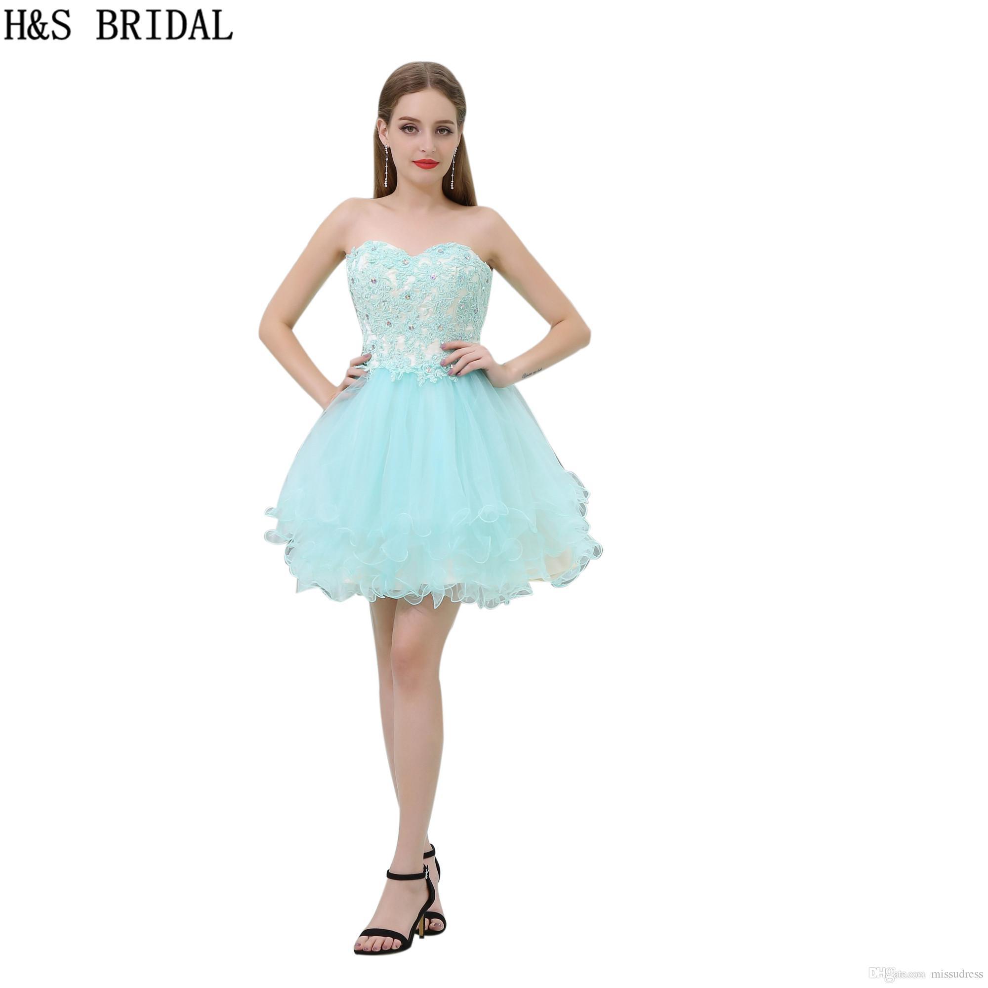 Bleu Dentelle Robes De Mini B030 Courte Cocktail Filles Sweetheart Ciel Party Bal Appliques NwOk0nP8X