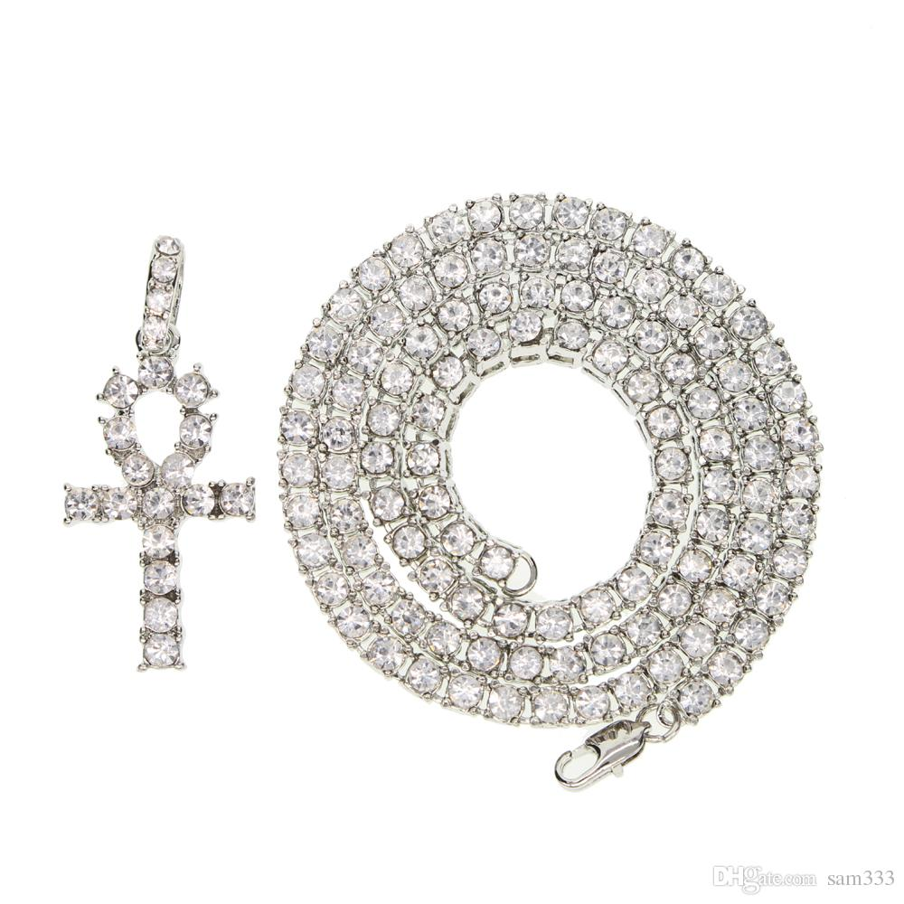 Wholesale Mens Iced Out Crystal 1 Row Tennis Chain Or Link Chain HipHop  Necklace With Gold Color Cross Pendant Necklace Men Rock HIPPOP Jewelry  2017 Mens ... a5d8a214ade4