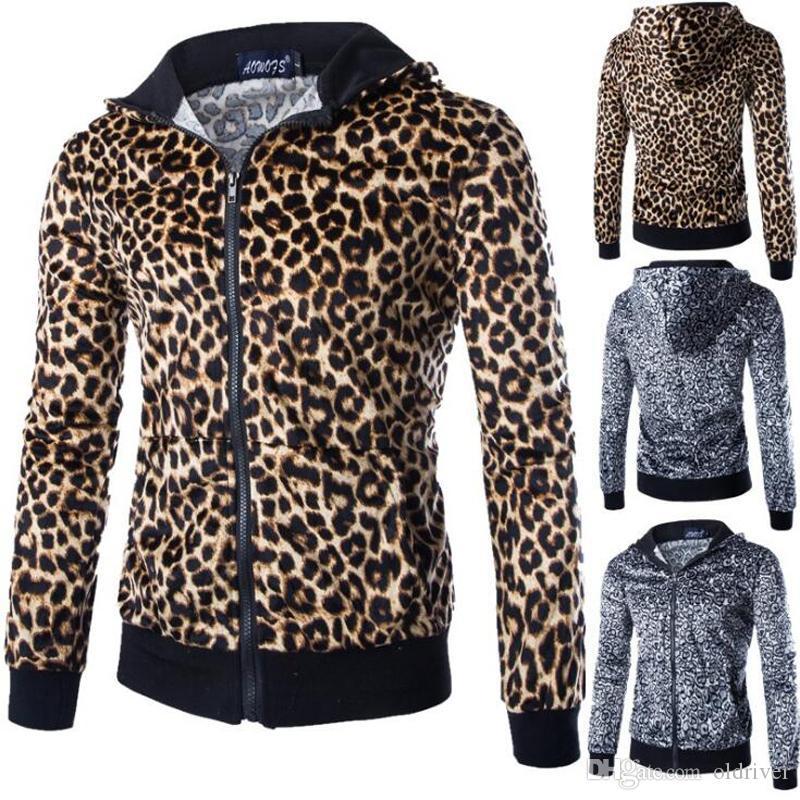 Men Sportswear Hoodies Set Autumn Suit Leopard Pattern Men Clothes Tracksuits Male Sweatshirts & Coats Joggers Plus Size