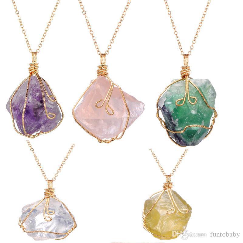 fd2aacc8fd11 Compre Moda Encanto Natural Piedra Cruda Mineral Irregular Amatista Cristal  Trenzado Collar De Alambre Colgante Al Por Mayor Envío Gratis A  4.03 Del  ...