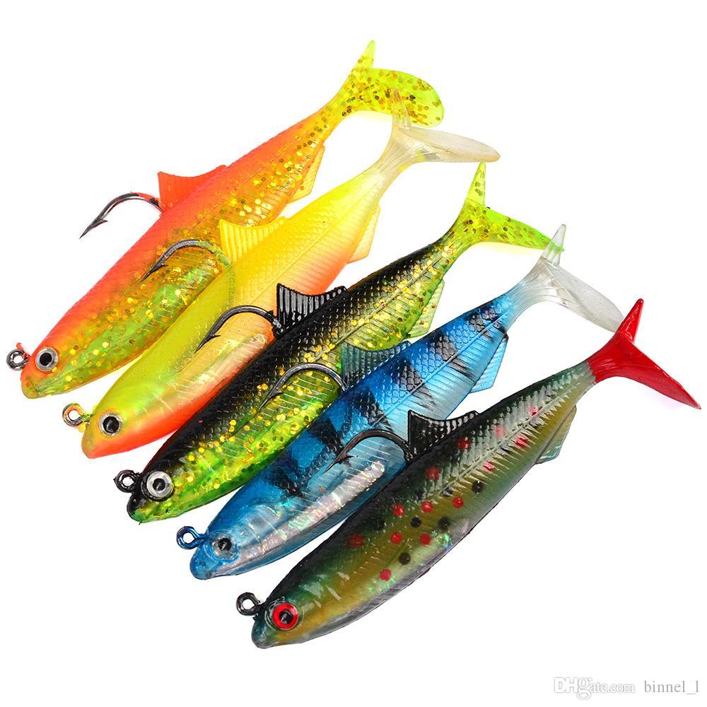 5 مختلط اللون 10.5CM 21g والرقص الصيد هوكس الخطافات هوك واحد الطعوم لينة السحر الاصطناعي بيت PESCA معالجة صيد الاسماك اكسسوارات