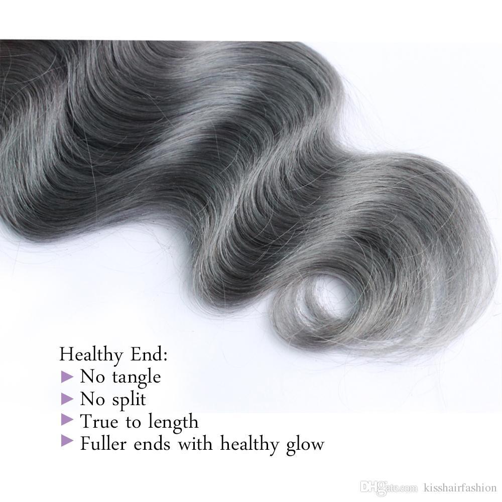 300 g Ombre Dos tonos de cabello humano paquetes T 1B Gris de buena calidad de color Brasileño Extensión del pelo brasileño camboyano peruano indio de la onda del cuerpo