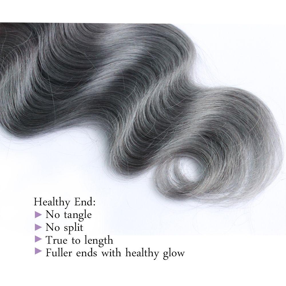 300g Ombre Two Tone Bundles capelli umani T 1B Grey buona qualità Colorata brasiliana Hair Extension Brasiliana cambogiana Peruviana Body Wave indiano