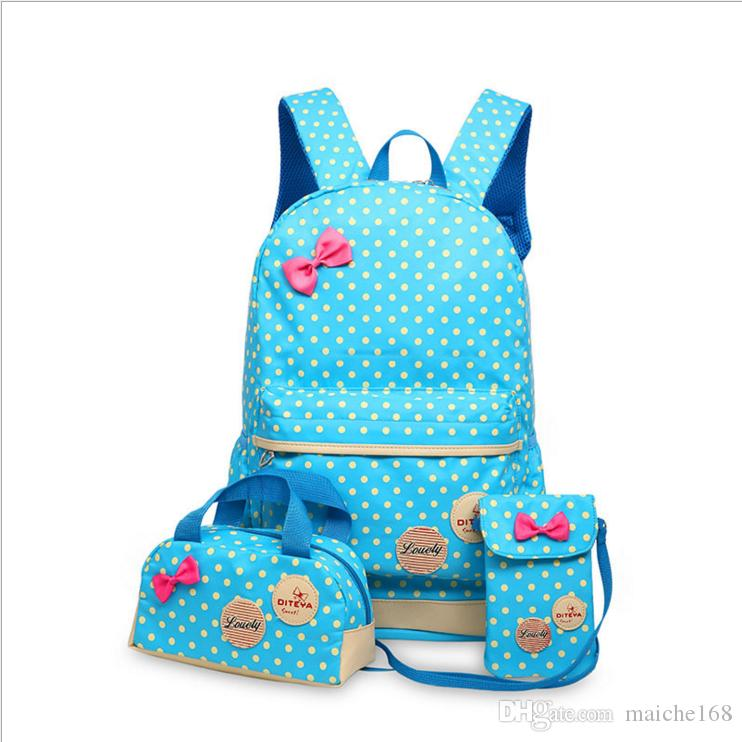 Sacos de escola para Adolescentes Meninas Mochila Grande Capacidade Senhoras Dot Impressão Mochila Escolar conjunto Mochila Bagpack Bonito