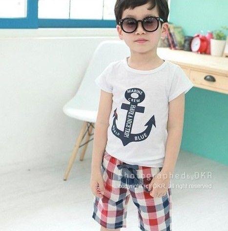 2017 neue sommer jungen navy stil kleidung sets kinder kurzarm t-shirt + plaid shorts 2 stücke set kinder casual outfits jungen anzug 100-140 cm
