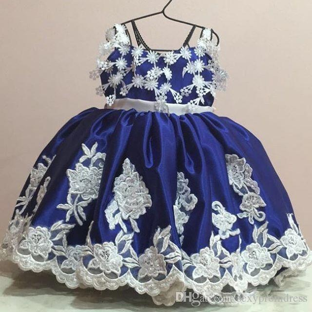 Cute Royal Blue Baby Formal Dresses 2017 Lace Appliques Spaghetti Children First Communion Gowns With Big Bow Flower Girl Dress For Wedding