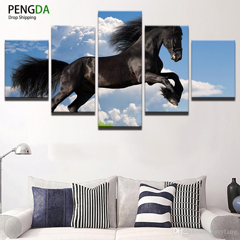 Painting Canvas Wall Art Picture Home Decor Room Canvas Print 5 Panel Blue Sky Running Black Horse Animal Modern Painting