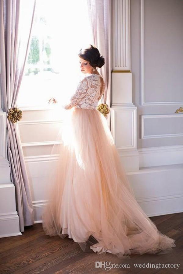 Precioso vestido de novia de país de talla grande Una línea Cuello escarpado Ilusión sumida Top de encaje Mangas largas Blush Pink Tulle Vestidos de novia con espalda abierta
