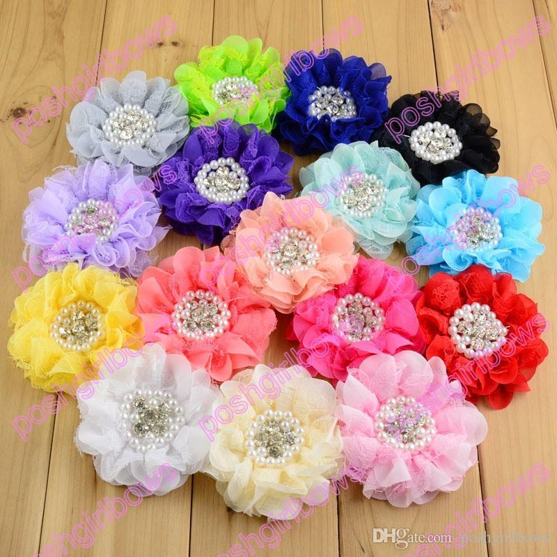 pinzas para el cabello flor de seda del envío cose los clips de la flor con los clips de peal accesorios para el cabello pelo del bebé arquea