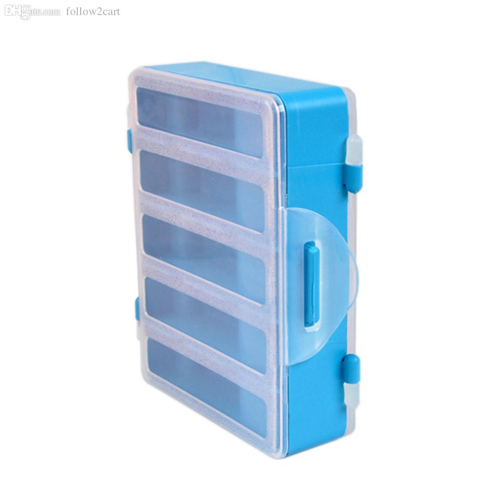 Plastic 10 Compartments Storage Case Fishing Boxes Double Side Transparent Fishing Tackle Box For Explosion Hooks Set Accessories Blue