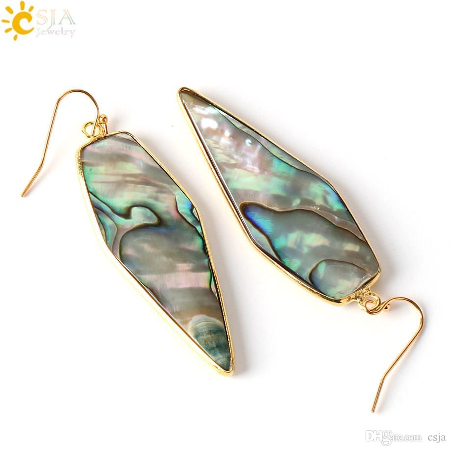 CSJA Retail Wholesale Graceful Plated Gold Hook Dangle Earrings Arrow Shape Glossy Natural Abalone Shell Jewellery E247