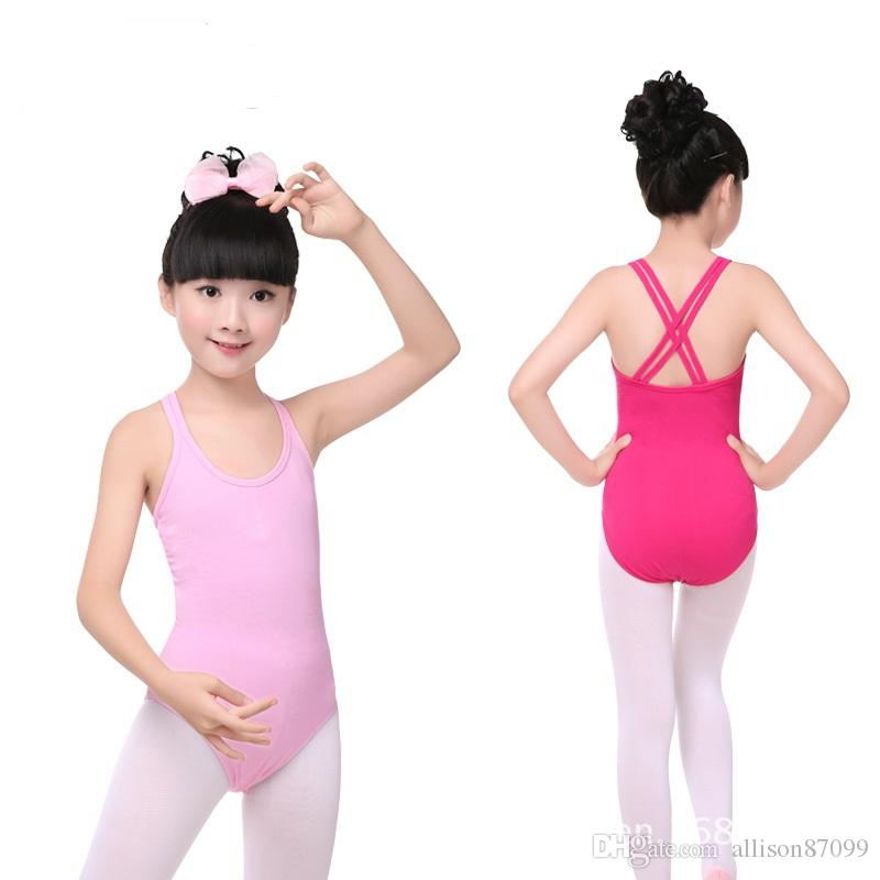 Leotard for girls Ballet gymnastic Bodysuit Dance Suit Dancewear Double cross strap Kids Girls Sleeveless Cotton free fast shipping