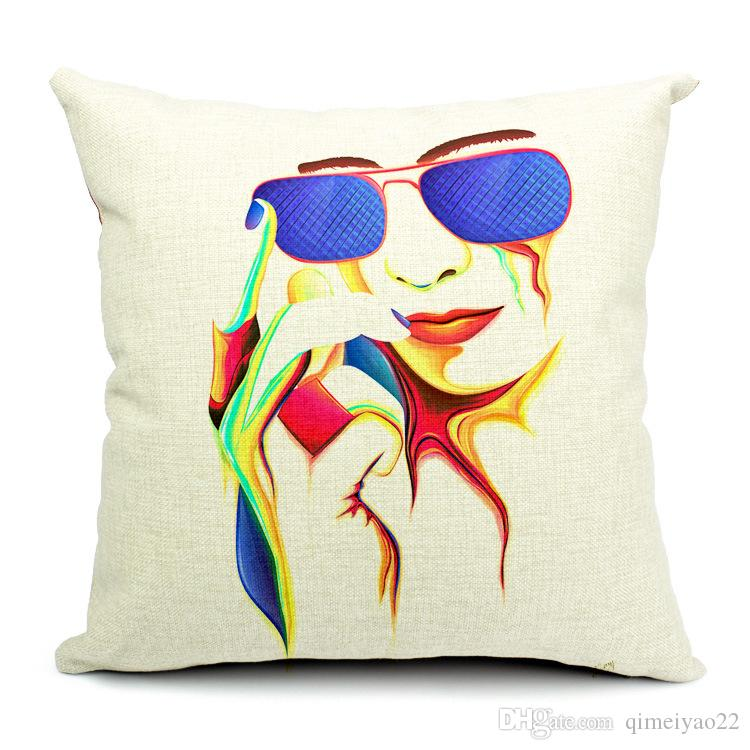 Abstract Colorful Painting Women Face Linen Cushion Cover Pillow Case Home Art Decor Almofadas 18*18inch coussin Bedroom Sofa Decoration