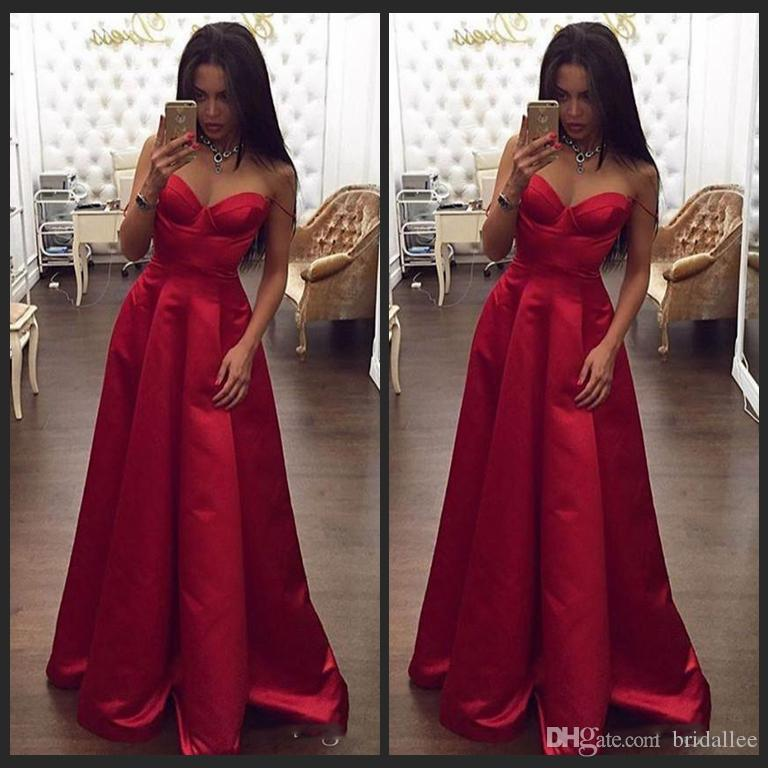 Evening Dress Open V-Neck Long Evening Dress New Arraived 2017 Red Satin Spaghetti A-Line Prom Party Dresses Occasion Dresses