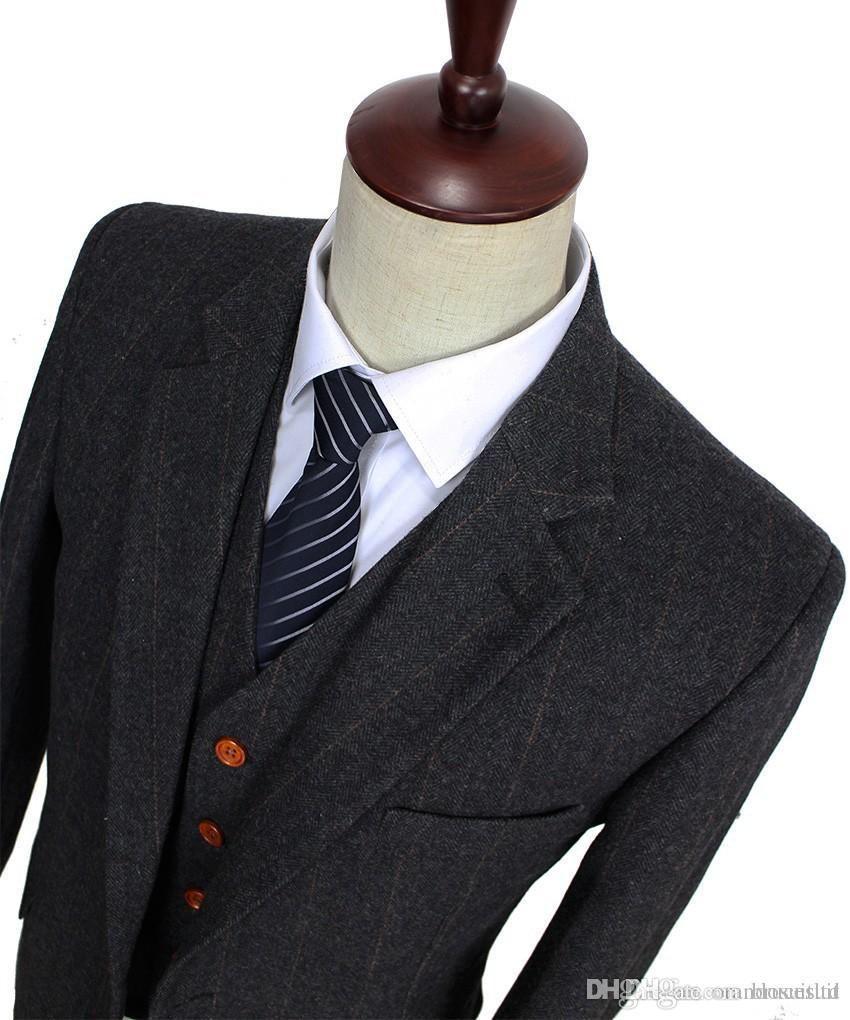 44458ad45f3 2017 Wool Dark Grey Checked Tweed Retro Gentleman Style Custom Made Men S  Suits Tailor Suit Blazer Suits For Men Jacket+Pants+Vest Wedding Tuxedos  2015 ...