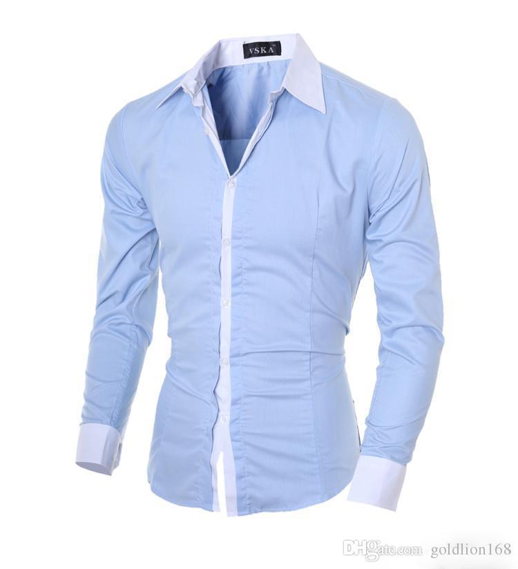 2016 Mens Slim fit Unique neckline stylish Dress hit color square collar long Sleeve Shirts Mens cotton shirts