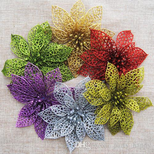 10pcs 6 Christmas Flowers Xmas Tree Decorations Glitter Hollow Wedding Party