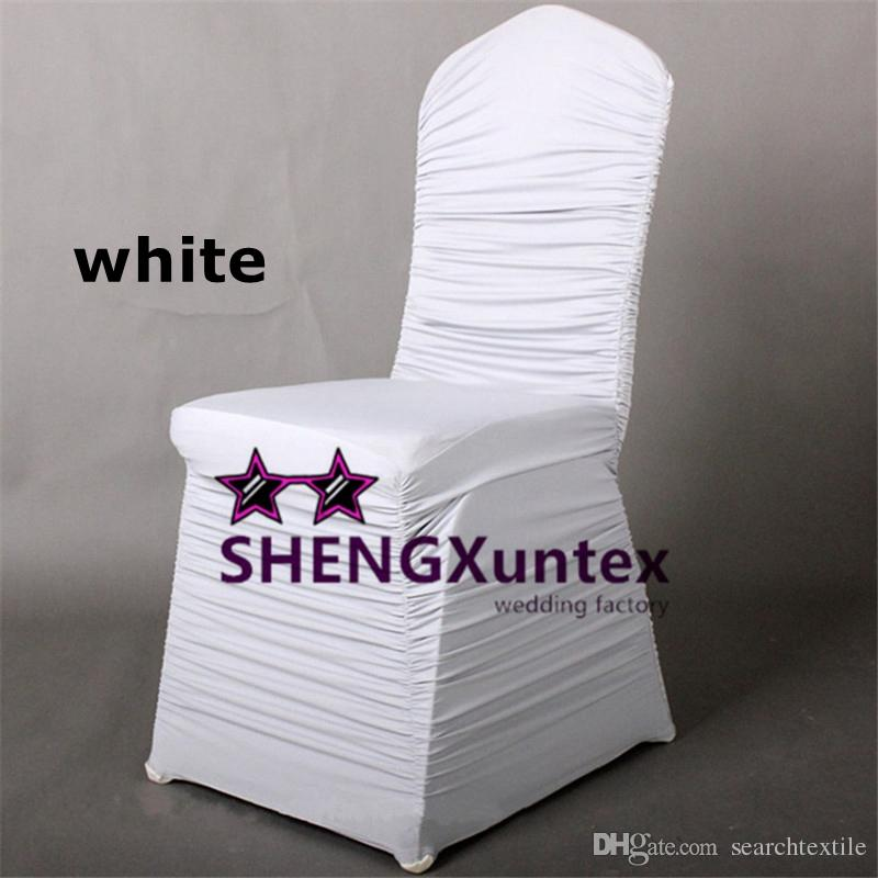 White Ruffled Spandex Chair Cover Cheap Price Wedding