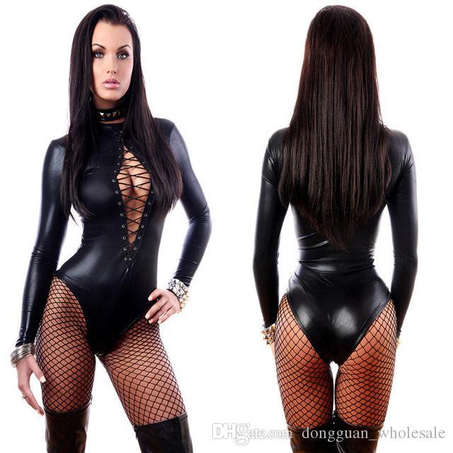 a27bc34fff3e Großhandel Frauen Overall Schwarz Sexy Leder Kleider Langarm Bodysuits  Erotische Trikot Latex Catsuit Kostüm 2017 Dongguan wholesale Auf Lager Von  ...