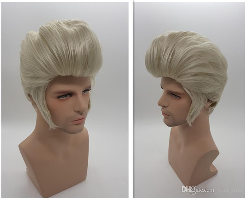 Xt861 Weiss Silber Naturliche Synthetische Haar Elvis Presley Frisuren Manner Kurze Haar Perucken Cosplay Perucken Peruque Peru Peru Peruken