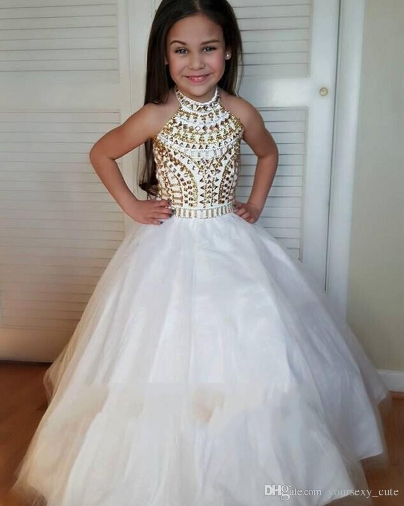 Branco Vestido De Baile Meninas Pageant Vestidos de Alta Pescoço Halter Tulle De Cristal De Ouro Sem Encosto Da Criança Meninas Vestidos Pageant Para Juniores
