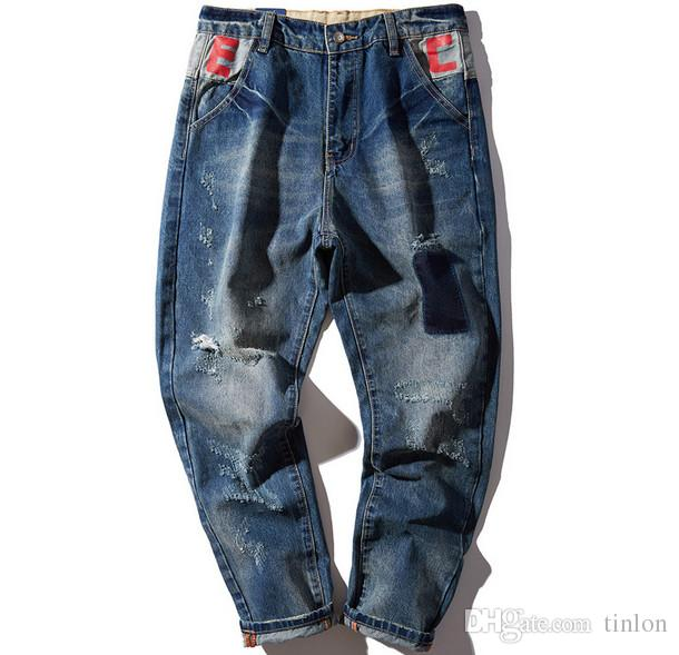 8a8e2f5cffe5 2017 Spring And Summer Beggar Hole Jeans Male Feet Loose Straight Pants  Japanese Tide Big Yards Long Pants From Tinlon