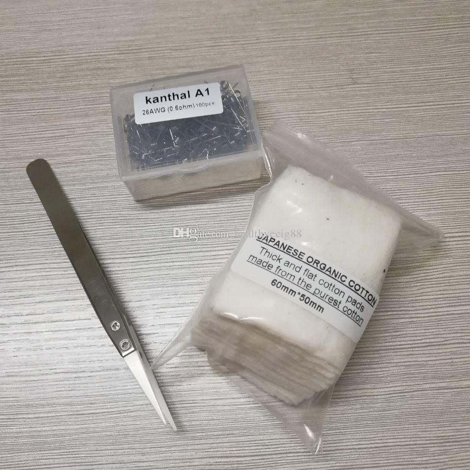 KanthalA1 Prebuild Coils +Japanese Cotton + Ceramics Tweezer Electronic Cigarette DIY Tools Kit For RDA RBA Atomizer