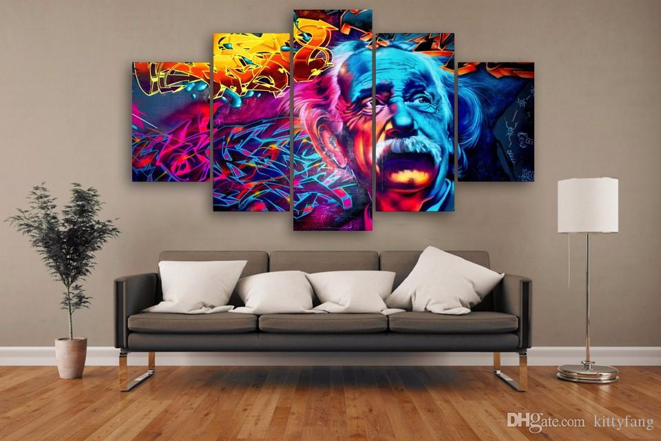Framed HD Printed Einstein Street Art Design Picture Wall Art Canvas Print Room Decor Poster Canvas Painting