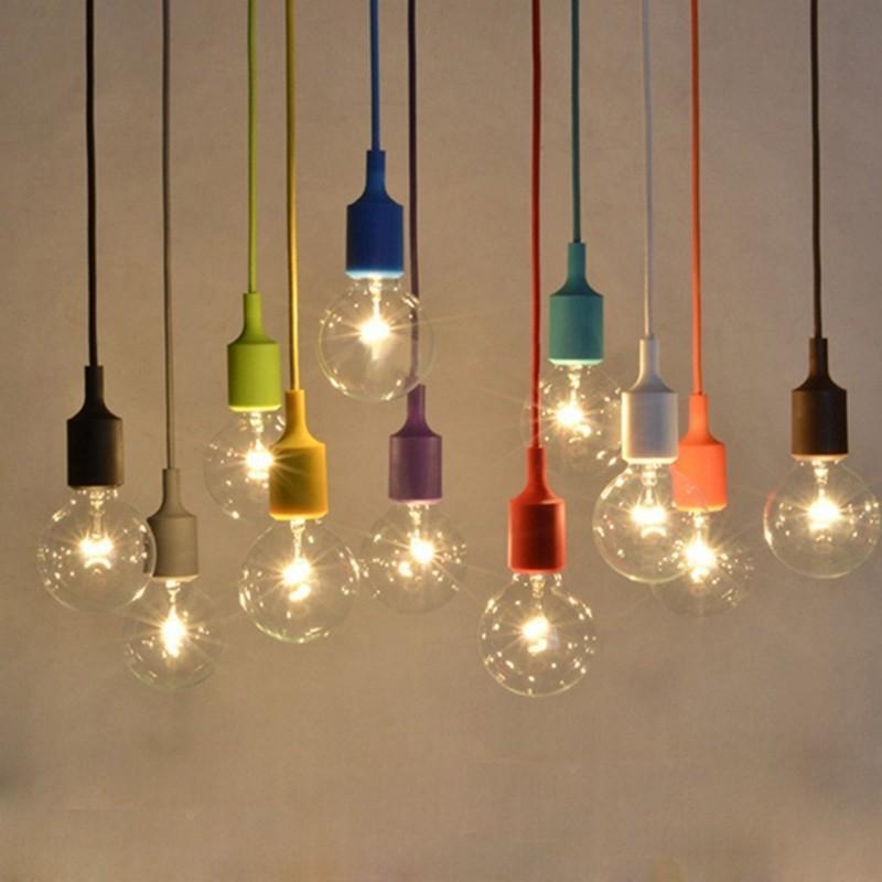 E27 e26 soquete lustre luminária pendurado linha de borracha de silicone colorido luz de teto suporte da lâmpada base