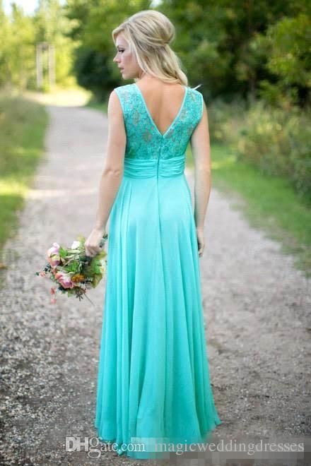 2016 neue Ankunft Türkis Brautjungfernkleider Scoop Ausschnitt Chiffon Bodenlangen Spitze V Backless Lange Brautjungfernkleider für Hochzeit Billig