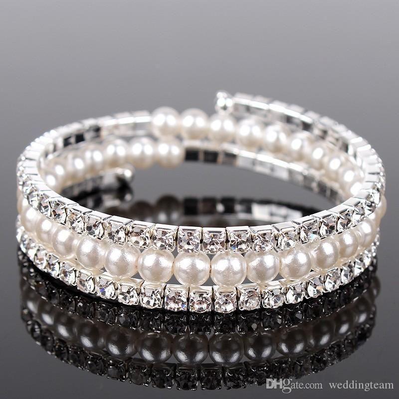 Luxury Pearls 3 Rows Rhinestones Stretch Bangle Wedding Bracelets