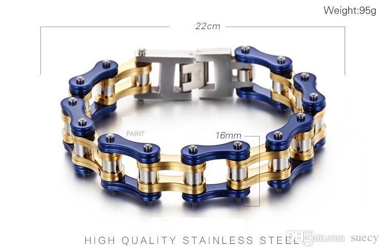 "8.66""*16mm Heavy Boys Mens Gold Blue Black Green Orange Tone bike Biker Motorcycle Link Chain 316L Stainless Steel Bracelets Bangle"