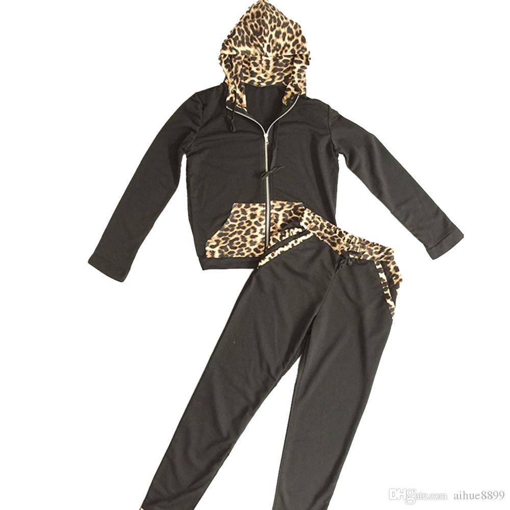 2017 Yeni İlkbahar Yaz Kadın Giyim Setleri Kapüşonlu Leopar Takım 2 Parça Set Kadın Takım Elbise Rahat Nokta