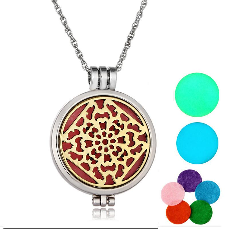 Oil Perfume Diffuser Locket Pendant Women Girls Necklace With Luminous Pads And 5 Pads Wedding Gift For Bride