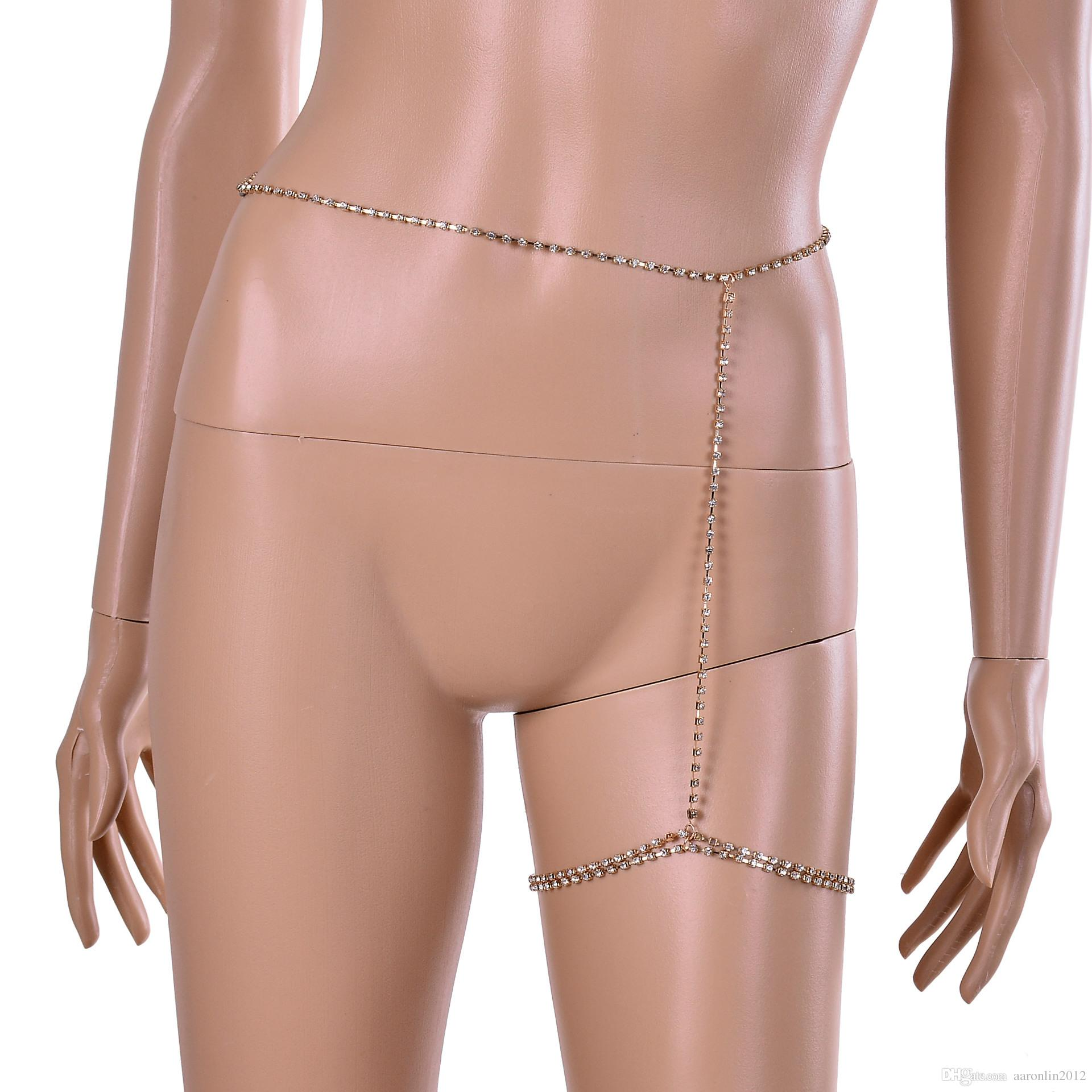Modemarke Kristall bein Kette Körperschmuck Sexy Frauen Strass Fußkettchen Bauch Ketten Geometrische Club Nacht Rock Körperkette 2017