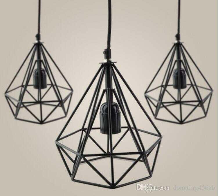 discount led pendant lights iron lampshade art deco retro with e27 interface diamond shapes for bar or coffee shop shopping malls outdoor pendant light