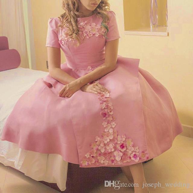 Compre Vestidos De Noche De La Vendimia Vestido Árabe Rosado De La ...