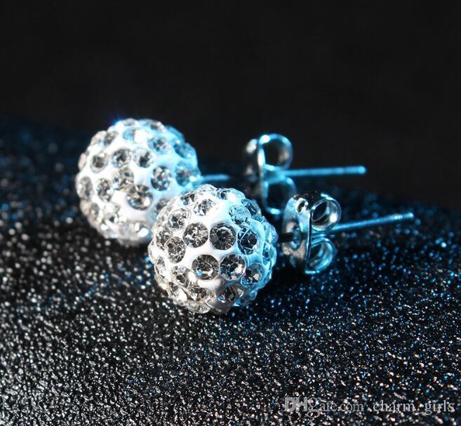 mix i Orecchini a sfera con cristallo rotondo a forma di scintilla la festa nuziale 6mm 8mm 10mm 12mm 24 accoppiamenti / lotto Marchio 925