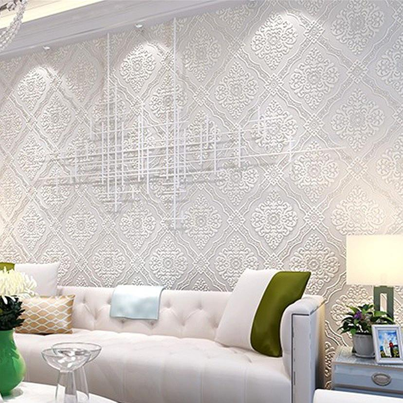 Madrid Taupe Beige Ultra Modern Living Room Furniture 3: Non Woven Flock Beige Silver White Emboss Wall Paper Large