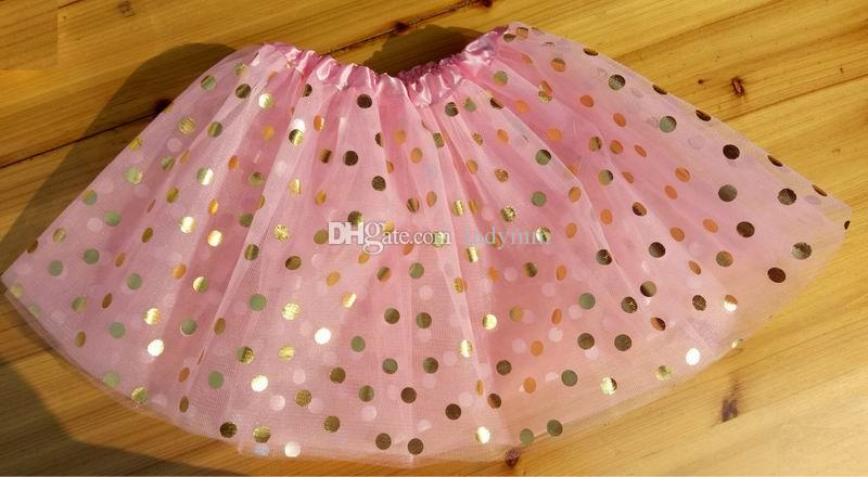 2017 Nouvelle Vente Or Polka Dot enfant fille tutus jupe danse robes soft ballet jupe enfants pettiskirt vêtements