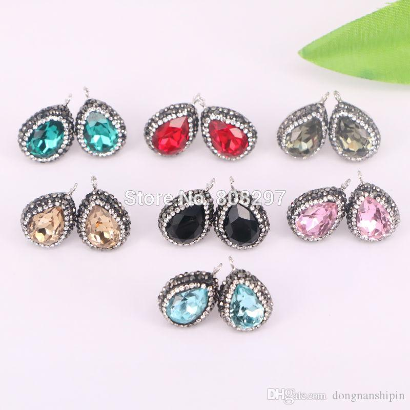 For Women Mixed Color Crystal Earrings, Pave Rhinestone Water Drop Shape Crystal Stud Earrings Jewelry Finding