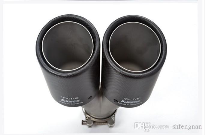 Inlet51 / 54/57/60 / 63mm outlet89 / 101mm لـ ak AKRAPOVIC ألياف الكربون العادم تلميح العادم كاتم الصوت لسيارات BMW