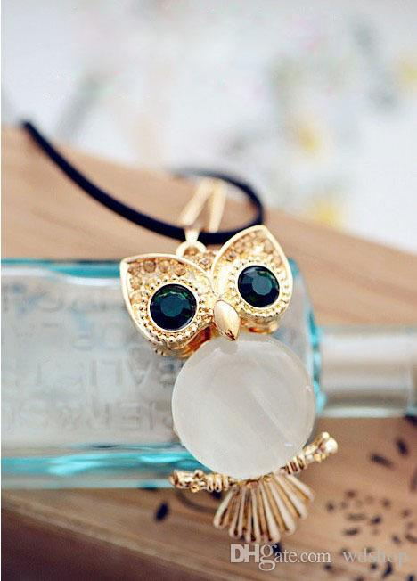 Women'S Lucky Gold Owl Of Night Pendant Necklace With Long Chain Created-Opal Pendant Fashion Crystal Gem Owl Sweater Chain