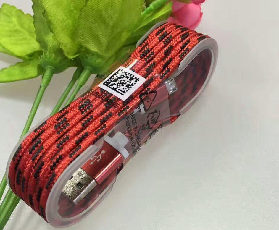Câble micro de synchronisation de données d'usb de métal tressé en nylon de grille de 1.5M pour le support interne / ot de téléphone intelligent