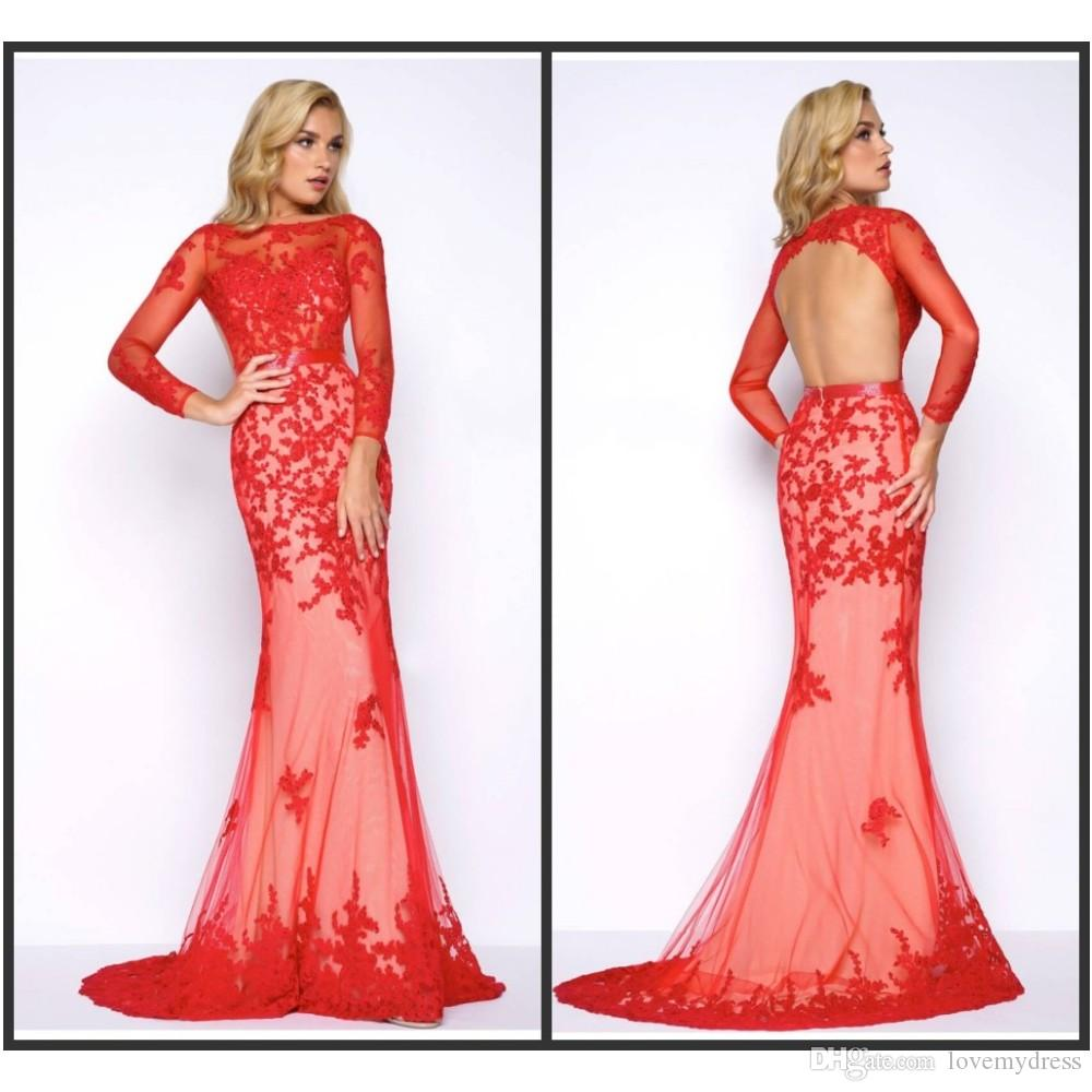 Mermaid Red Evening Gown Cheap Formal Wear Long Sweep Train Open